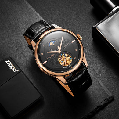New Bestdon Luxury Rose Gold Watch Men's Automatic Mechanical Fashion Business Watches Tourbillon Watches with box 7155