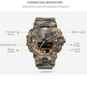 New Camouflage Military Watch SMAEL Watch Men Sports Watch LED Quartz Clock Men Sport Wristwatch 8001 Mens Army Watch Waterproof