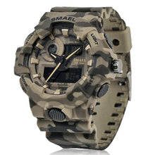 Load image into Gallery viewer, New Camouflage Military Watch SMAEL Watch Men Sports Watch LED Quartz Clock Men Sport Wristwatch 8001 Mens Army Watch Waterproof
