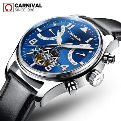 New Mens Fashion Automatic Mechanical Watches Men Waterproof Tourbillon Carnival Watch Male Multifunction Leather Clock Relogios