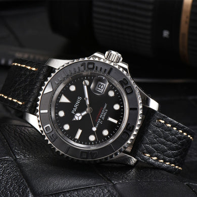 New Parnis 40MM Black Dial Automatic Mechanical Men's Watch Diver Miyota 8215 Men Watches Sapphire Leather Strap Man Clock 2019