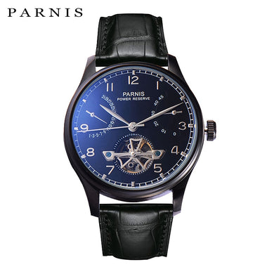 New Parnis 43mm Skeleton Watch Automatic PVD Case Men Power Reserve Tourbillon Mechanical Watches Calendar Top Luxury Brand 2019