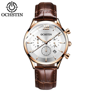 OCHSTIN Top Brand Luxury Watch Men Rose Gold Leather Strap  Wrist Watch Fashion Business Clock Quartz Watch Relogio Masculino