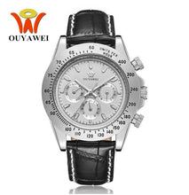 Load image into Gallery viewer, OUYAWEI Automatic Self Wind Mens Montre Homme Watch Leather Strap Waterproof Luxury Style Male Black Wristwatch Reloj Masculino