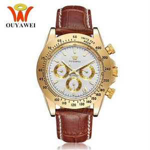 OUYAWEI Automatic Self Wind Mens Montre Homme Watch Leather Strap Waterproof Luxury Style Male Black Wristwatch Reloj Masculino