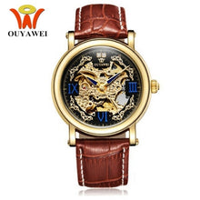 Load image into Gallery viewer, OUYAWEI Fashion Man Watch Male Automatic Self Wind Wristwatch Leather Band Luxury Male Gold black Clocks Reloj Masculino Hombre