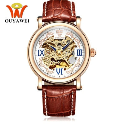OUYAWEI Fashion Man Watch Male Automatic Self Wind Wristwatch Leather Band Luxury Male Gold black Clocks Reloj Masculino Hombre
