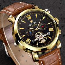 Load image into Gallery viewer, OUYAWEI Mechanical Watches Men Top Brand Luxury Automatic Watch Men Clock Wrist Watch For Men Leather Watch Relogio Masculino