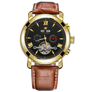 OUYAWEI Mechanical Watches Men Top Brand Luxury Automatic Watch Men Clock Wrist Watch For Men Leather Watch Relogio Masculino