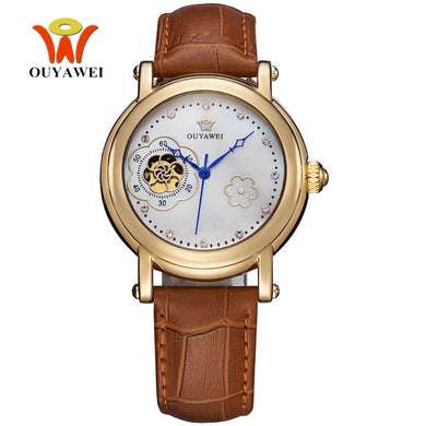 Original OYW Automatic Self Wind Female Mechanical Wristwatch Luxury Brand Watch Leather Band Fashion Ladies Woman Watch Relogio