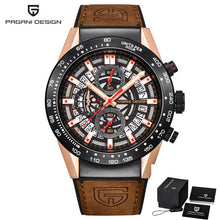 Load image into Gallery viewer, PAGANI DESIGN Fashion Skeleton Sport Chronograph Watch Leather Strap Quartz Mens Watches Top Brand Luxury Waterproof Clock
