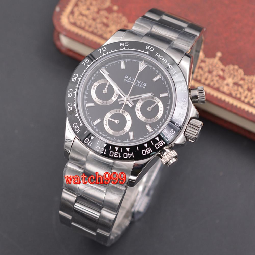 PARNIS 39mm Men's Luminous Casual Watch Full Chronograph Sapphire Crystal Black Dial Shiny Steel Strap