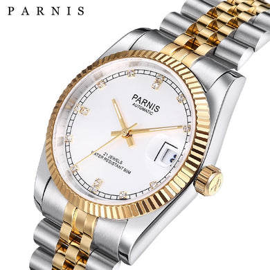 Parnis Automatic Mechanical Watch 2019 Luxury Brand Gold Men Women Elegant Diamond Stainless Bracelet Watches Man Clock PA2112