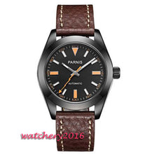 Load image into Gallery viewer, Parnis Classic Dress 40mm black dial luminous hands Top Brand Leather strap sapphire glass 21 jewels MIYOTA Automatic mens watch