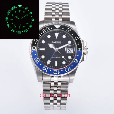 Parnis40mm sapphire crystal super bright luminous ceramic bezel GMT automatic date casual sports men's watch  black/blue Bezel