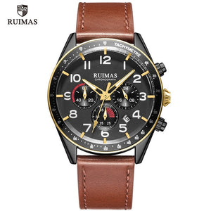 RUIMAS Luxury Quartz Watches for Men Military Leather Strap Chronograph Wristwatch Man Top Brand Sports Watch Relogios Clock 574