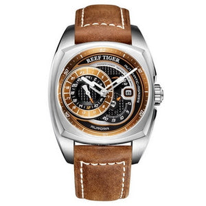 Reef Tiger RGA3319 fashion sports watch genuine leather strap men waterproof automatic Seld-wind wristwatch-silver
