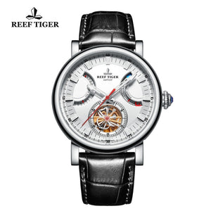 Reef Tiger/RT Automatic Watch for Men Solid Steel Black Leather Strap Watch with Date Day RGA1950
