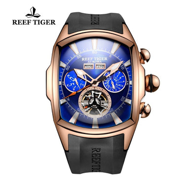Reef Tiger/RT Big Sport Watch Men Luminous Analog Tourbillon Watches Top Brand Blue Rose Gold Watch  relogio masculino RGA3069