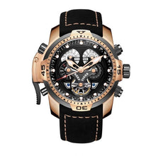 Load image into Gallery viewer, Reef Tiger/RT Brand Military Watches for Men Rose Gold Blue Dial Brown Leather Strap Automatic Watches Relogio Masculino RGA3503