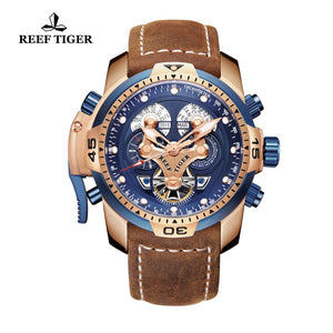 Reef Tiger/RT Brand Military Watches for Men Rose Gold Blue Dial Brown Leather Strap Automatic Watches Relogio Masculino RGA3503