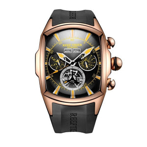 Reef  Tiger/RT Designer Sport Watches Tourbillon Blue Dial Analog Display Watches Rubber Strap Luminous Watch for Men RGA3069