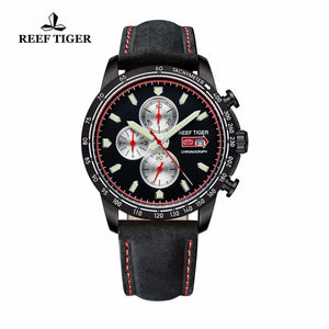 Reef Tiger/RT Luminous Sport Watch for Men  with Date Steel Watch with Luminous Markers Chronograph Quartz Watches RGA3029