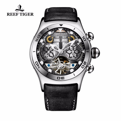 Reef Tiger/RT Luminous Sport Watches For Men Year Month Calendar Automatic Watch with Tourbillon RGA703