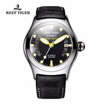 Load image into Gallery viewer, Reef Tiger/RT Luminous Sport Watches for Mens Steel Big Skeleton Dial with Date Leather Strap Self-winding Wrist Watch RGA704