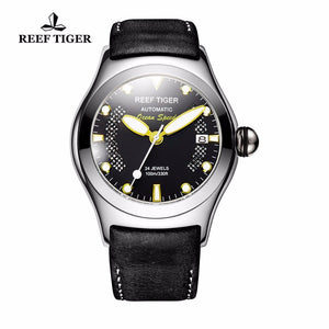 Reef Tiger/RT Luminous Sport Watches for Mens Steel Big Skeleton Dial with Date Leather Strap Self-winding Wrist Watch RGA704