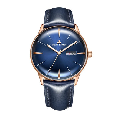 Reef Tiger/RT Luxury Dress Watch Men Genuine Leather Strap Blue Watch Automatic Mechanical Watches Waterproof Date Watch RGA8238