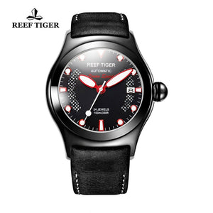 Reef Tiger/RT Mens Sport Watches Luminous Skeleton Automatic Watches Genuine Leather Band RGA704