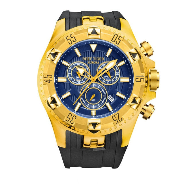 Reef Tiger/RT Super Luminous Steel Yellow Gold Watch Men Sports Quartz Watches Chronograph and Date Automatic Watches RGA303