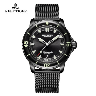 Reef Tiger/RT Vintage Luminous Sport Watches Mens Black Stainless Steel  Strap Automatic Dive Watches with Date RGA3035