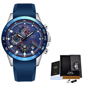 Relogio Masculino 2019 LIGE New Blue Fashion Quartz Gold Watch Mens Watches Top Brand Luxury Man Military Waterproof Chronograph