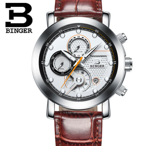 Relogio Masculino BINGER Mens Watches Top Brand Luxury Chronograph Quartz Watch Men Luminous Men Wrist Watch reloj hombre 9017M2