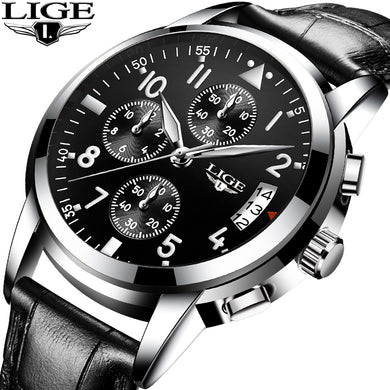 Relogio Masculino LIGE Mens Watches Top Brand Luxury Fashion Business Quartz Watch Men Sport Leatherl Waterproof Black Clock+Box