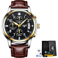 Load image into Gallery viewer, Relogio Masculino LIGE Mens Watches Top Brand Luxury Fashion Business Quartz Watch Men Sport Leatherl Waterproof Black Clock+Box