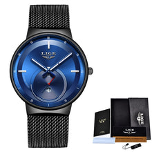 Load image into Gallery viewer, Relogio Masculino LIGE Simple Mens Watches Top Brand Luxury Ultra-thin Quartz Watch Men full steel Waterproof Clock reloj hombre