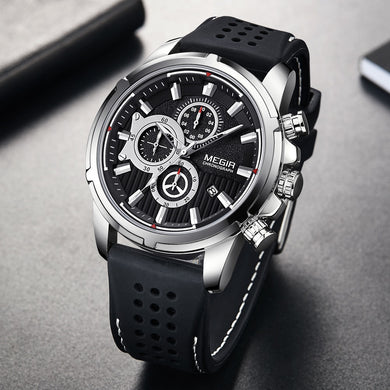 Relogio Masculino MEGIR New Sport Chronograph Silicone Mens Watches Top Brand Luxury Quartz Clock Waterproof Big Dial Watch Men