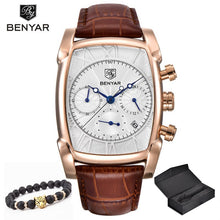 Load image into Gallery viewer, Relogio Masculino Mens Watches Top Luxury Brand BENYAR Chronograph Leather Quartz Watch Men Military Sport Luminous Wristwatch