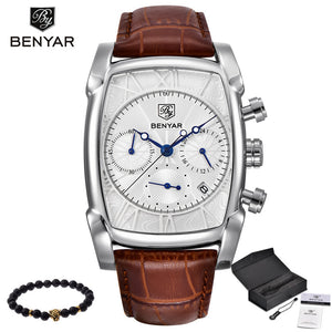 Relogio Masculino Mens Watches Top Luxury Brand BENYAR Chronograph Leather Quartz Watch Men Military Sport Luminous Wristwatch
