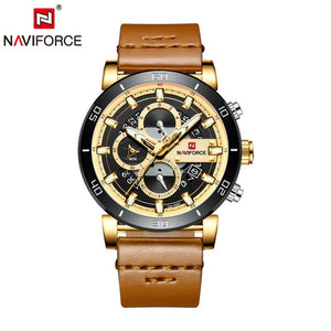 Relogio Masculino NAVIFORCE Men Watch Top Brand Luxury Sport Chronograph Military Army Wristwatch Leather Quartz Male Clock 9131