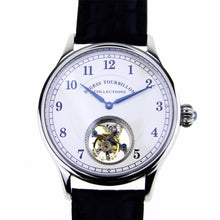 Load image into Gallery viewer, Reloj Mecánico de reserva de energía eólica Manual Tourbillon Guilloche