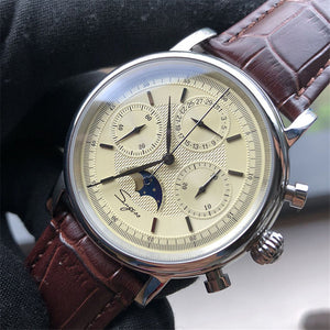 Retro Mens 1908 Pilot Watch Chronograph Sapphire Moon Phase Men Aviator Military Mechanical Watches Hand Winding Calendar