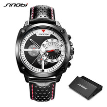 Load image into Gallery viewer, SINOBI Mens Watches Top Luxury Brand Waterproof Sports Wrist Watch Chronograph Quartz Military Genuine Leather Relogio Masculino