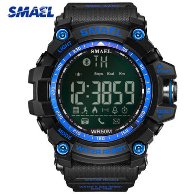 SMAEL Bluetooth Smart Sport Men Watch Top Brand Army Green Style Clock Call Reminder Calorie Digital Men's Watches Relogio Reloj