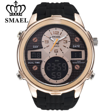 SMAEL Casual Sports Watch Men Calendar Quartz Wristwatch LED Dual Display Wrist Watches Man Chronograph Auto Date Men's Clocks