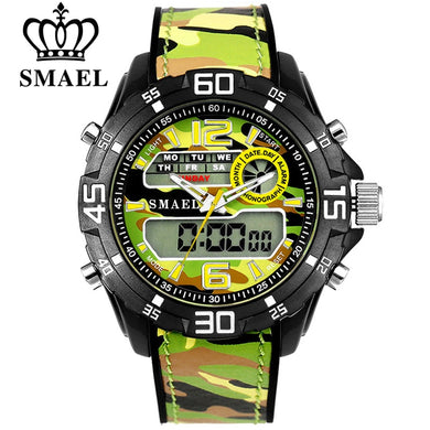 SMAEL Luxury Brand Men Army Military Watches Men's Quartz Clock Male Fashion Sports Wrist Watch LED Dual Display Wristwatches