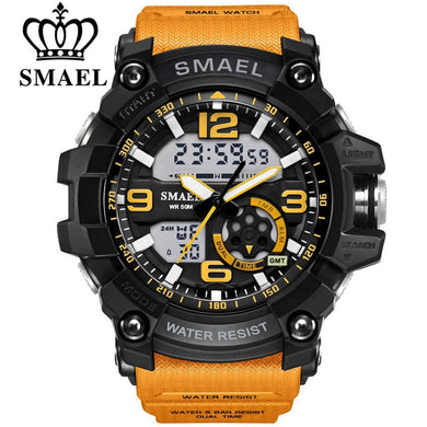 SMAEL Men Military Watch 50m Waterproof Wristwatch LED Quartz Clock Male relogios masculino 1617 Digital Sports Watches Men's